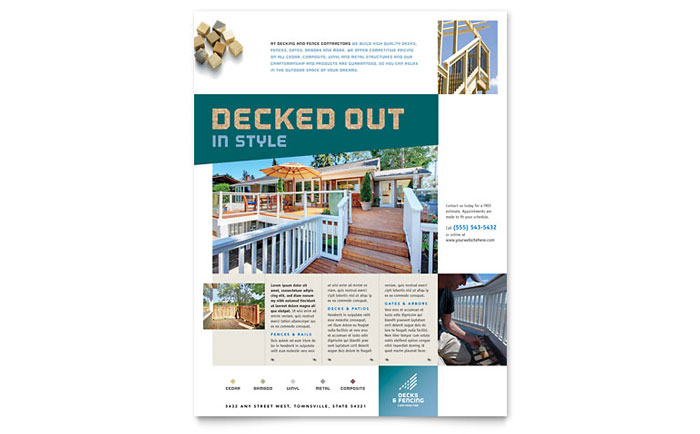 Decks & Fencing Flyer Template Design Download - InDesign, Illustrator, Word, Publisher, Pages