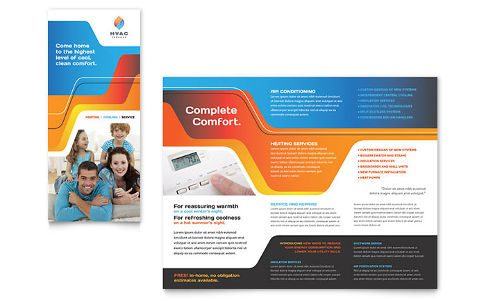one page brochure template word - hvac brochure template design