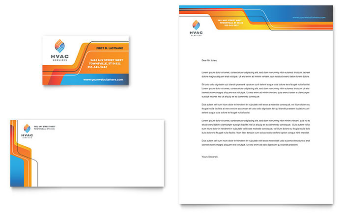 Hvac business card letterhead template design wajeb