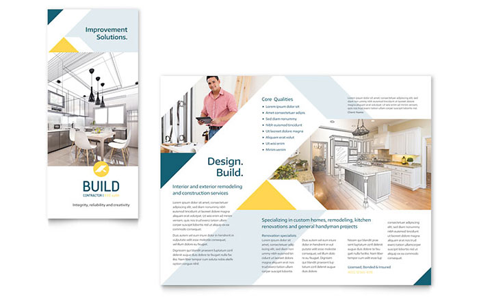 Contractor Brochure Template Design - Brochure template download