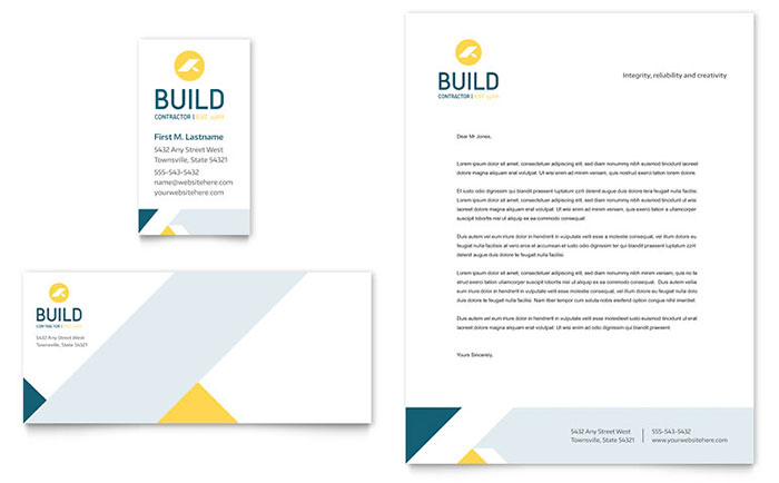 Contractor business card letterhead template design accmission