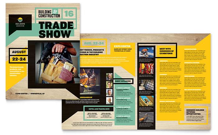 Builders Trade Show Brochure Template Design - Bi fold brochure template indesign