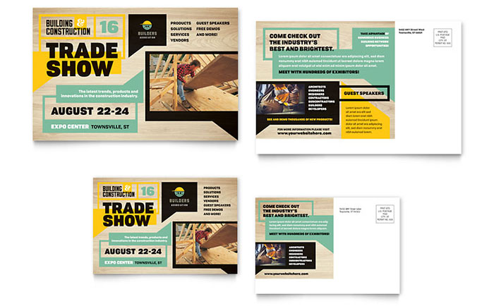 Builders Trade Show Postcard Template Design – Free Postcard Templates Microsoft Word
