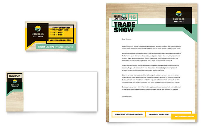 Builders trade show business card letterhead template design reheart