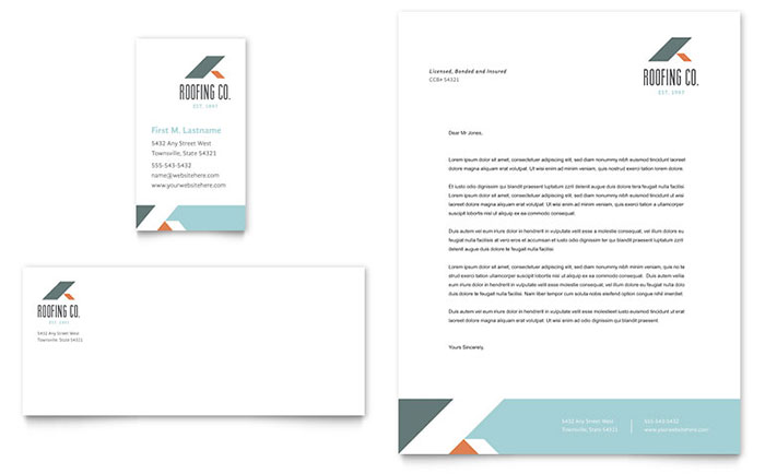 Roofing Company Business Card  Letterhead Template Design