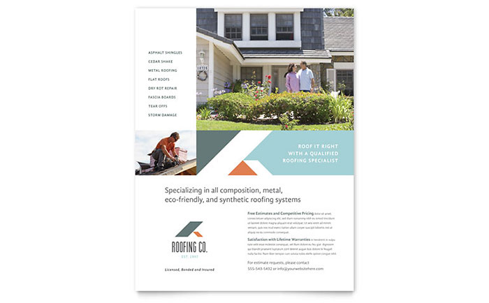 Roofing Company Flyer Template Design Download - InDesign, Illustrator, Word, Publisher, Pages