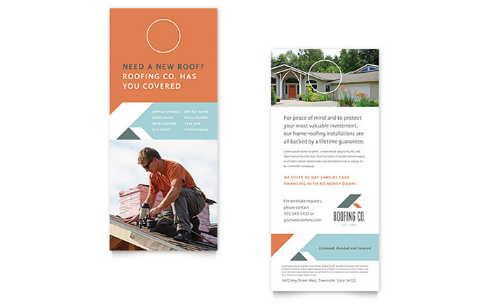 roofing company rack card template design. Black Bedroom Furniture Sets. Home Design Ideas