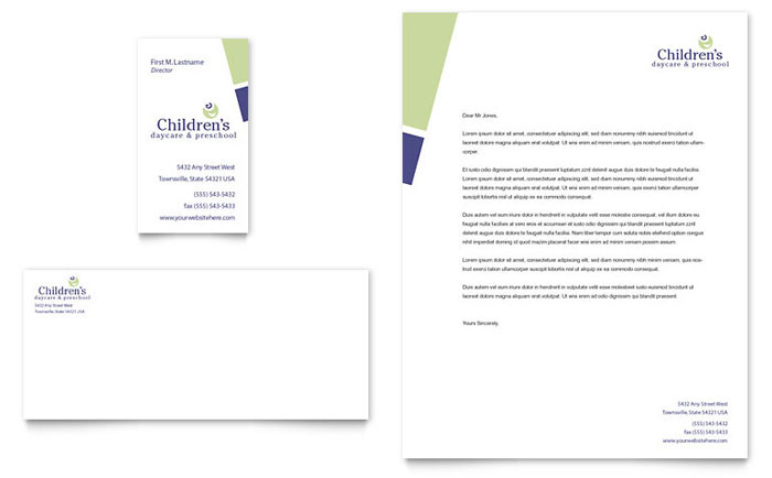 Child Care & Preschool Business Card & Letterhead Template Design Download - InDesign, Illustrator, Word, Publisher, Pages
