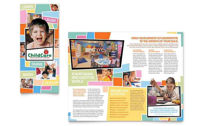 preschool kids day care brochure template design indesign illustrator word publisher