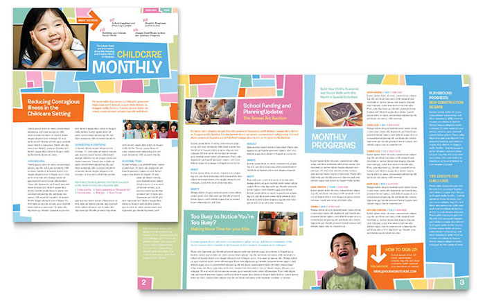 Preschool kids day care newsletter template design for Free online newsletter templates pdf