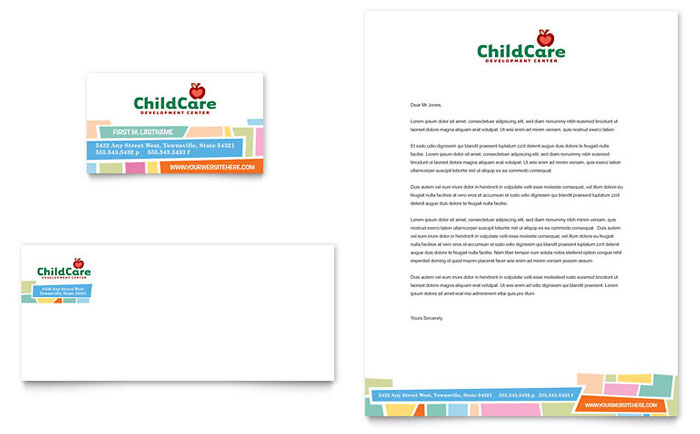 Preschool Kids  Day Care Business Card  Letterhead Template Design