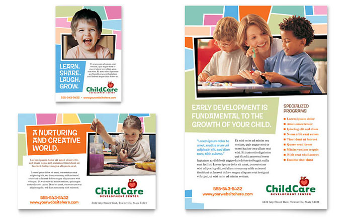 preschool kids day care flyer ad template design - Daycare Advertising Examples