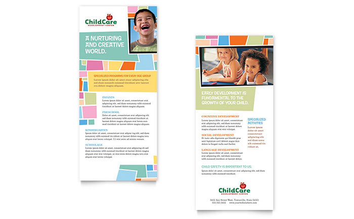 Preschool Kids  Day Care Brochure Template Design
