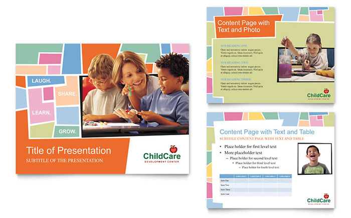 preschool kids day care powerpoint presentation template design - Brochure Templates For Kids
