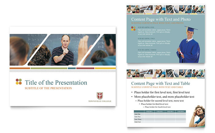 College  University Powerpoint Presentation Template Design