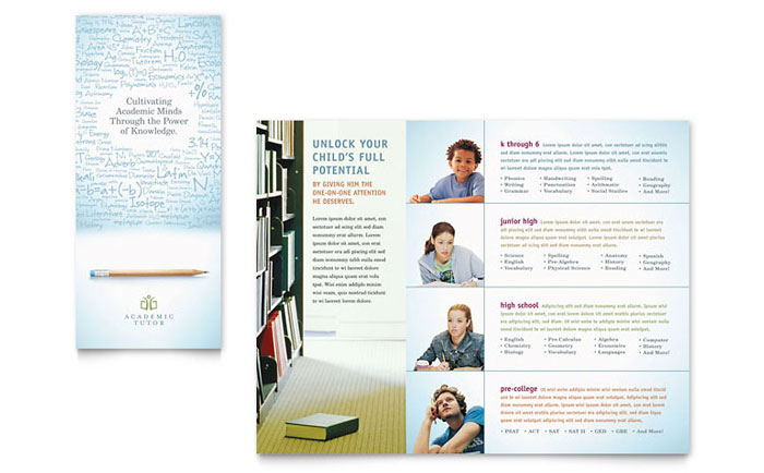 Academic Tutor School Tri Fold Brochure Template Design - Tri fold school brochure template