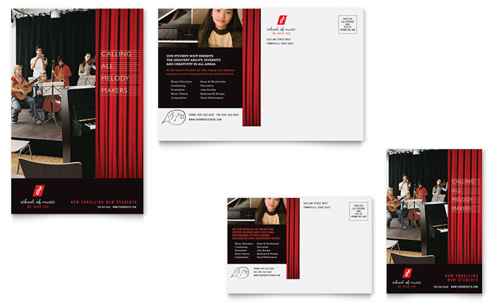 Music School Postcard Template Design Download - InDesign, Illustrator, Word, Publisher, Pages