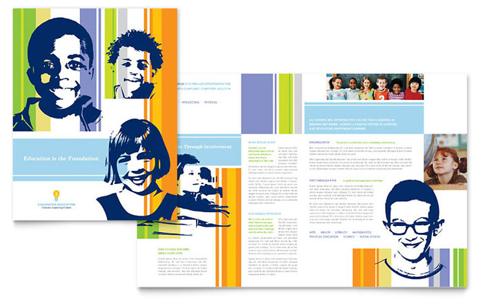 Learning center elementary school brochure template design for College brochure design pdf