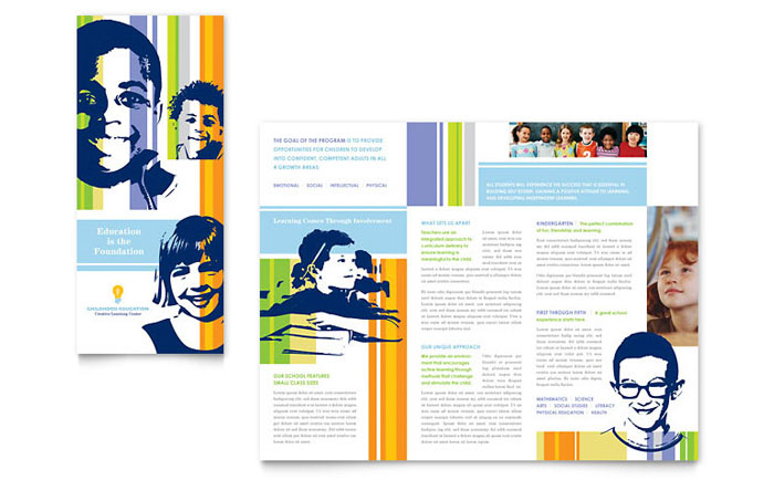 Learning Center Elementary School Brochure Template Design - Tri fold school brochure template