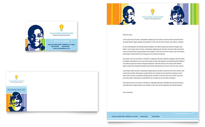Learning Center & Elementary School Business Card & Letterhead Template Design