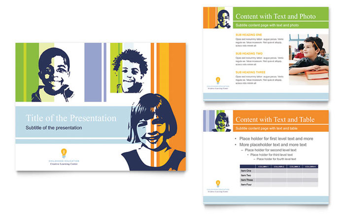 learning center & elementary school flyer & ad template design, Powerpoint templates