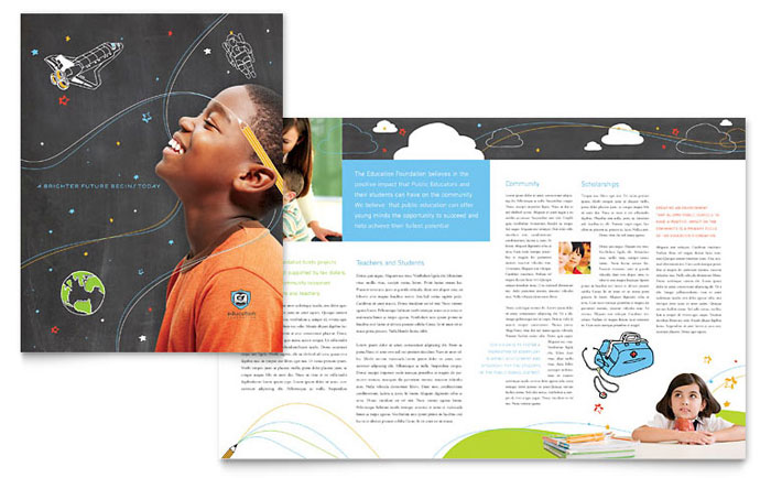 Education Foundation School Brochure Template Design - School brochures templates