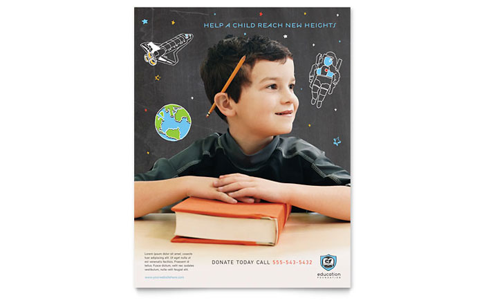 education foundation  u0026 school flyer template design