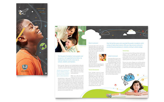 Education Foundation School Tri Fold Brochure Template Design - Tri fold school brochure template