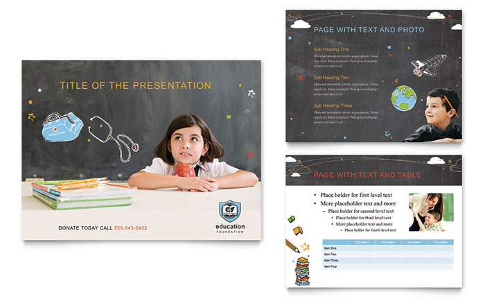 Education Foundation & School PowerPoint Presentation Template Design