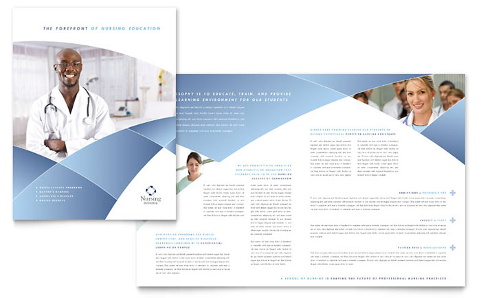 Nursing School Hospital Brochure Template Design - Healthcare brochure templates free download