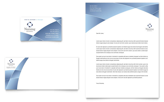 Nursing school hospital business card letterhead template design accmission