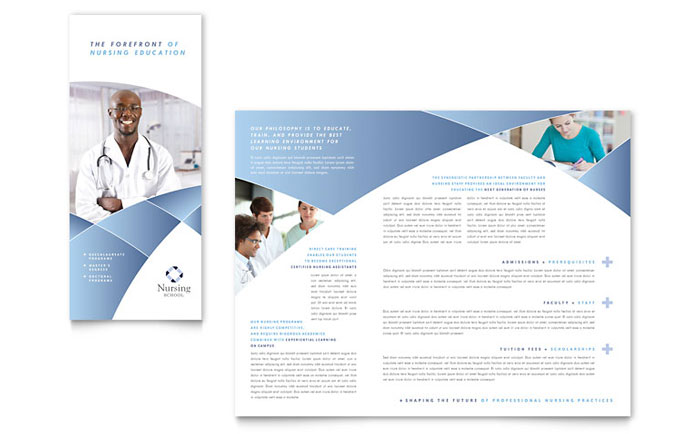 Nursing School Hospital Tri Fold Brochure Template Design - Tri fold school brochure template
