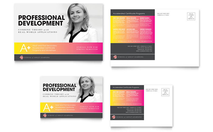 Adult education business school postcard template design wajeb Gallery
