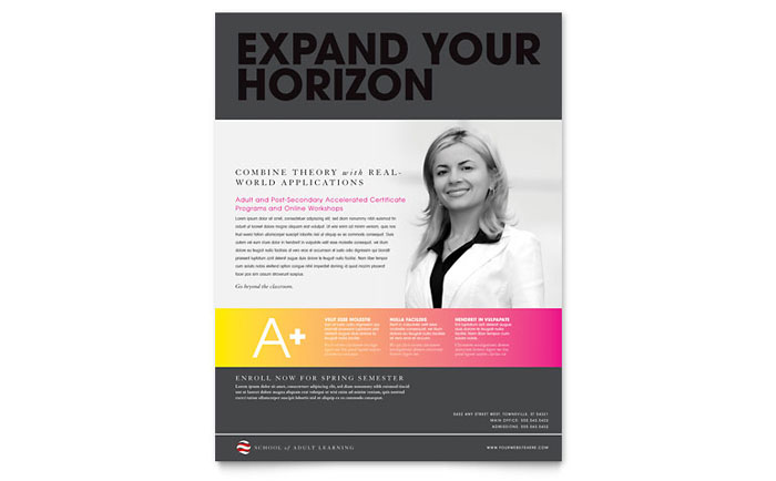 Adult Education & Business School Flyer Template Download - InDesign, Illustrator, Word, Publisher, Pages