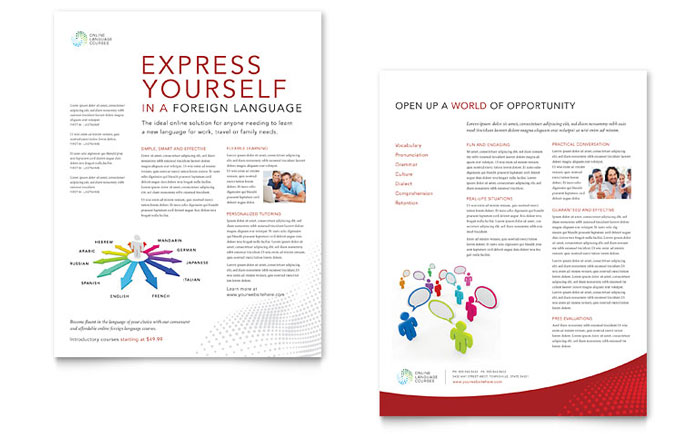 Language Learning Datasheet Template Design