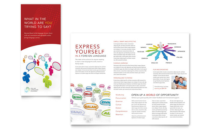 Language Learning Tri Fold Brochure Template Design Download - InDesign, Illustrator, Word, Publisher, Pages