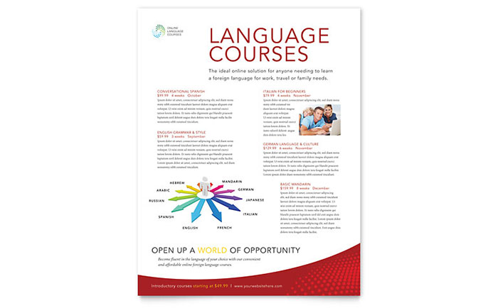 Language Learning Class Flyer Template Design Download - InDesign, Illustrator, Word, Publisher, Pages