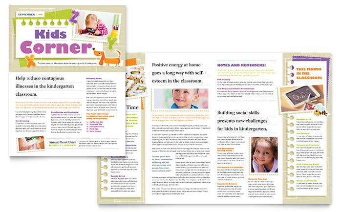 Kindergarten newsletter template design for Childcare newsletter templates