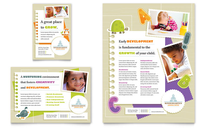 Kindergarten Flyer  Ad Template Design