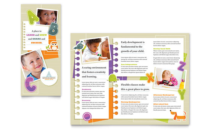 Kindergarten tri fold brochure template design for Preschool brochure template