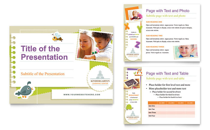 kindergarten tri fold brochure template design, Presentation templates