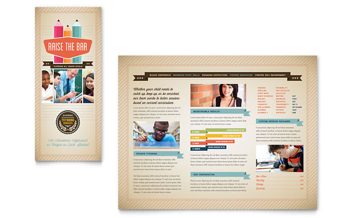 Tutoring school brochure template design for College brochure design pdf