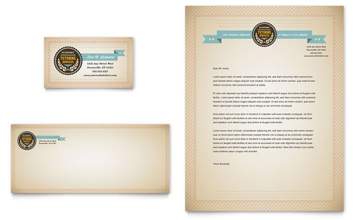 Tutoring School Business Card  Letterhead Template Design