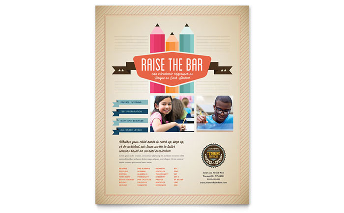 Tutoring School Flyer Template Design Download - InDesign, Illustrator, Word, Publisher, Pages