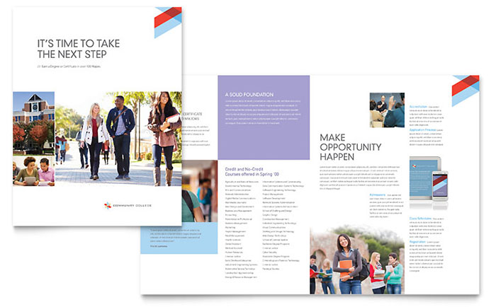 Community College Brochure Template Design - Brochures design templates