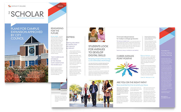 Community College Newsletter Template Design Download - InDesign, Illustrator, Word, Publisher, Pages