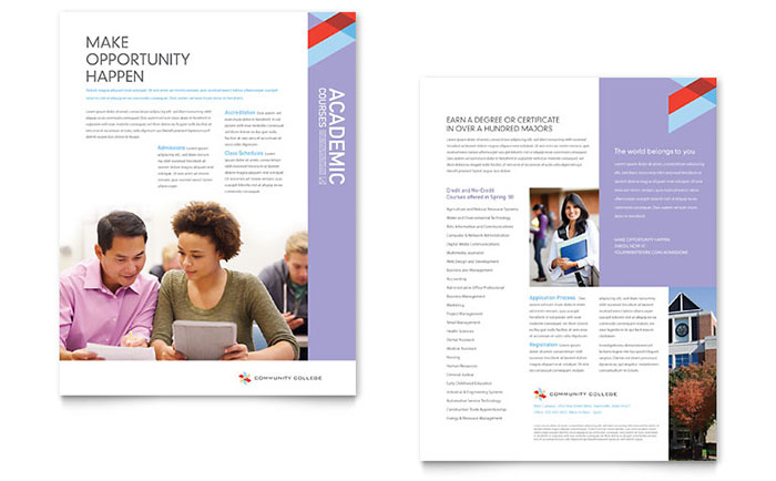 Community college datasheet template design for College brochure templates free download
