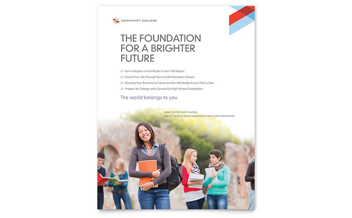 Community college flyer template design for College brochure design pdf