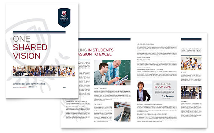 High school brochure template design for College brochure design pdf
