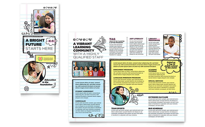 Elementary School Brochure Template Design - School brochure templates